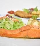 Filete de color salmón con las ensaladas Fotografía de archivo