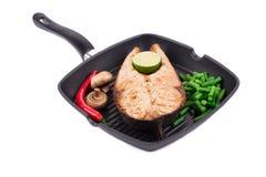 Filete de color salmón frito Imagenes de archivo