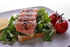 filete de color salmón irlandés en tostada con el tomate Imágenes de archivo libres de regalías