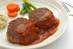 Filete de hamburguesa con la salsa de Brown Fotografía de archivo libre de regalías