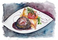 Filete de la carne de vaca con la sal grande y la pimienta aisladas Foto de archivo libre de regalías