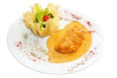 Filete de pescados de color salmón frito Imagenes de archivo