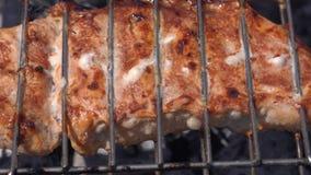 Filete jugoso sabroso del cerdo que cocina en los pinchos del metal en parrilla del aire libre del carbón de leña con humo fragan metrajes