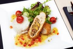 Filete relleno del pollo Fotografía de archivo
