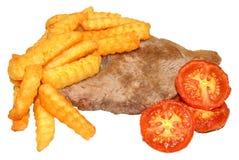 Filete y Chips With Grilled Tomatoes Fotografía de archivo