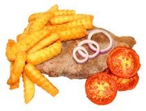 Filete y Chips With Grilled Tomatoes Fotografía de archivo libre de regalías