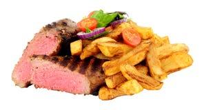 Filete y Chips Meal cocinados raros de solomillo foto de archivo