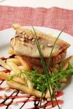 Filete y fritadas fritos cacerola de pescados Foto de archivo