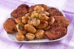 Filete y patatas Fotografía de archivo