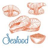 Filetes de color salmón, sushi, caviar Bosquejos de los mariscos Foto de archivo