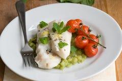 Filetes de pescados con los tomates cocinados Imagenes de archivo