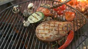 Filetes fritos de los pescados blancos en la parrilla con una puntilla del romero, una pimienta roja, un calabacín, tomates de ce almacen de video