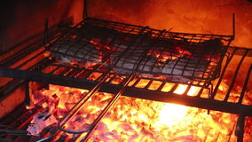 Filetes que cocinan en una parrilla exterior metrajes