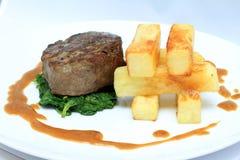 Filetlapje vlees met grote spaanders Royalty-vrije Stock Afbeeldingen
