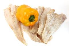 Filets crus de morues et poivre jaune Photo libre de droits