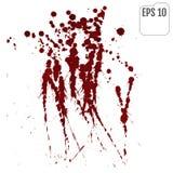 Filets de liquide rouge sur un fond blanc Jet de sang illustration stock