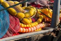 Filets de pêche avec les flotteurs lumineux Photographie stock libre de droits