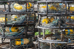 Filets de pêche, balises et flotteurs Photographie stock
