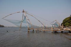 Filets de pêche chinois chez Kochi Photographie stock