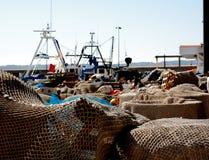Filets de pêche dans le port image libre de droits