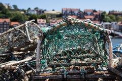 Filets de pêche dans le port de Whitby Image libre de droits