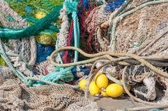 Filets de pêche empilés Images libres de droits