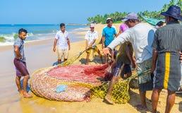 Filets de pêche sur le rivage, Bentota Photos stock