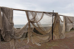 Filets de pêche traînant pour sécher images libres de droits