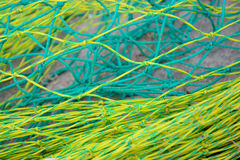 Filets en nylon jaunes et verts Images libres de droits