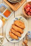 Filets frits de maquereau espagnol Images libres de droits