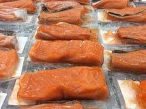 Filets saumonés crus Photo stock
