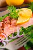 Filets saumonés grillés sur des épinards Photographie stock libre de droits