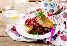 Filetti di pesce con salsa agrodolce Fotografia Stock