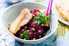 Filetti di pesce con salsa agrodolce Immagine Stock