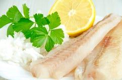 Filetti di pesce e riso grezzi Fotografia Stock