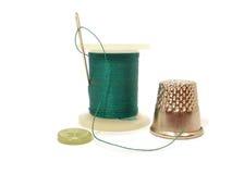 Filetto, ago, tasto e cilindro porta caratteri Fotografia Stock Libera da Diritti
