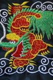 Filetto cinese del ricamo del drago Fotografie Stock