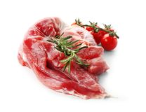 Filetto di carne di maiale crudo su fondo bianco Prodotti della carne fresca fotografia stock libera da diritti