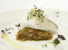 Filetto di merluzzo con le verdure Fotografia Stock