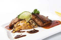 Filetto di pesce con la salsa ed il riso di soia Fotografia Stock Libera da Diritti