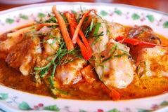 Filetto di pesce in curry rosso secco Fotografia Stock