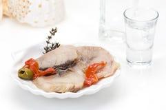 Filetto di pesce e ouzo affumicati fotografia stock libera da diritti