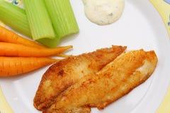 Filetto di pesce fritto con le carote, il sedano e la salsa tartara fotografia stock libera da diritti