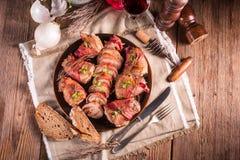 Filetto di porco farcito fotografia stock