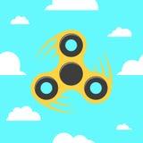 Fileur dans un style plat Le fileur jaune se retourne contre le ciel bleu Nuages plats et blancs Un jouet antistress moderne pour illustration stock