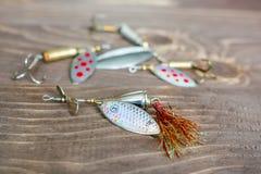 Fileur de pêche Attirail pour la capture des poissons Articles de pêche Images stock
