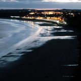 Filey town at dusk East Yorkshire coast England Royalty Free Stock Photo