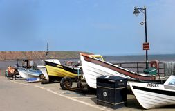 Filey harbor and Cobble Landing Royalty Free Stock Photo