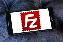 FileZilla application logo. Logo of FileZilla application on samsung mobile. FileZilla is a free software, cross platform FTP application, consisting of stock photo
