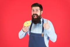 Filhós da posse do padeiro Moderno engraçado Filhós doce Homem do cozinheiro chefe no café Dieta e alimento saudável Dieta da fil imagem de stock